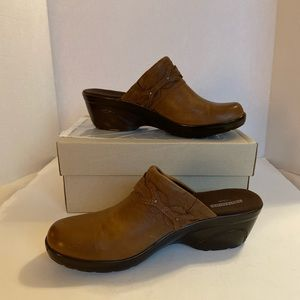 Clarks Leather Wedge Clogs - Marion Coreen - US 9M
